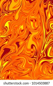 Fiery orange digital background made of interweaving curved shapes. Illustration