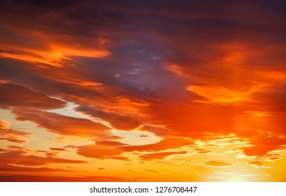 Fiery, orange and red colors sunset sky. Beautiful background