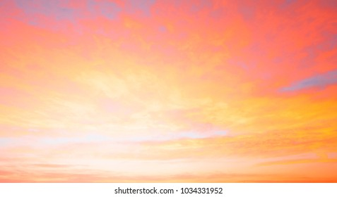 Fiery orange sunset sky. Beautiful sky