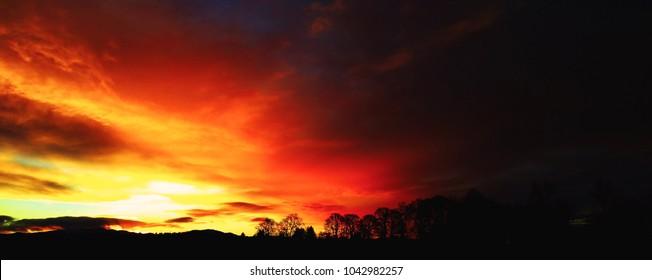 A fiery Pacific Northwest sunrise.