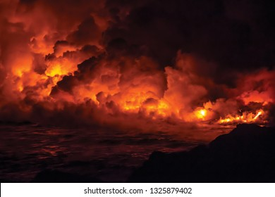 fiery red ocean fire in the water illustration 3d rendering