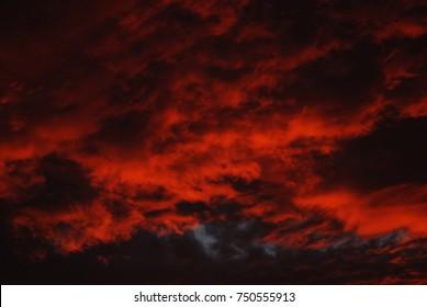 Fiery, red skies.