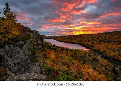 A fiery sunrise over Lake of the Clouds, Porcupine Mountains Sate Park. Michigan's Upper Peninsula