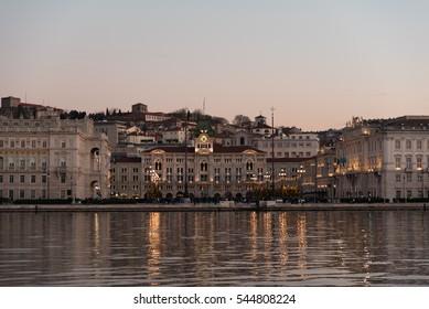 fiery sunset in the Gulf of Trieste, Adriatic Sea