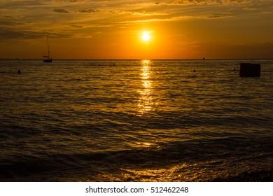Fiery sunset on the sea