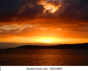 Fiery Sunset over Lake Taupo, New Zealand