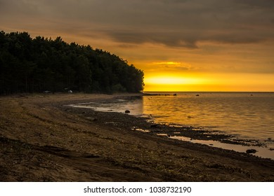 Fiery sunsets on the shore of the Gulf of Finland, Leningrad Region, Russia