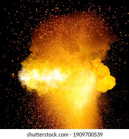 Fiery super bright bomb explosion, orange color with sparks and smoke isolated on black background