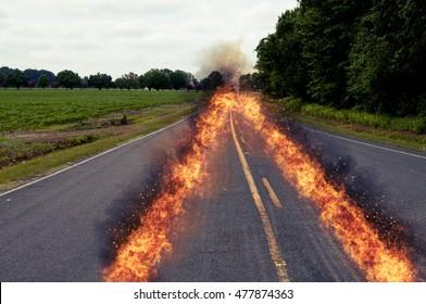 Fiery tracks from a speeding car