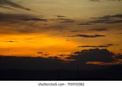 Fiery yellow sunset sky. Beautiful sky