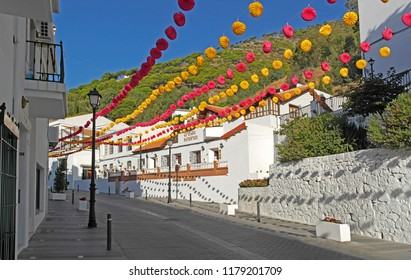 Fiesta decorations, Mijas Pueblo , Andalusia, Spain . 8th September 2018. For editorial use only