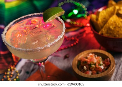Fiesta: Delicious Margarita On The Rocks With Salt On Rim