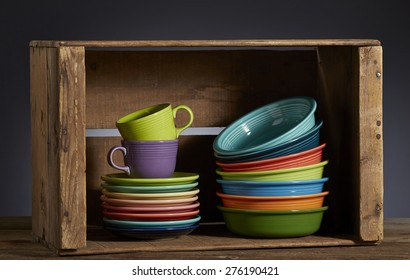 Fiesta dishes in wood box