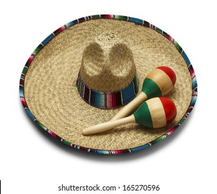 Fiesta Hat with Maracas Isolated on White Background.