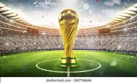 Fifa Cup concept. Golden trophy in the form of the globe. 2018. 3d render