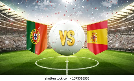 Fifa Cup. Portugal vs Spain. Soccer concept. White soccer ball with the flag in the stadium, 2018. 3d render