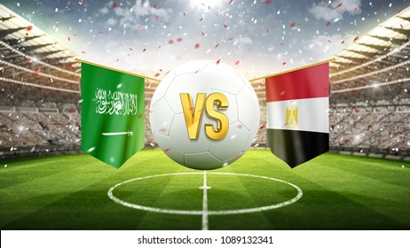 Fifa Cup. Saudi Arabia vs Egypt. Soccer concept. White soccer ball with the flag in the stadium, 2018. 3d render