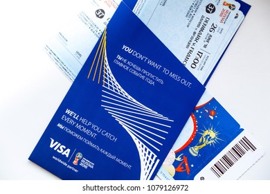 FIFA Venue Ticketing Centre, Moscow, Russia - April 2018. Tickets for the 2018 FIFA World Cup in Russia in summer, Luzhniki Stadium, Denmark - France.