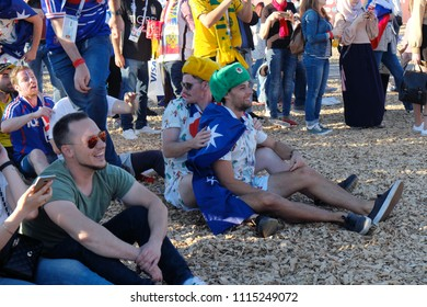 FIFA World Cup of FIFA 2018 franch fans in fan zone of FIFA 2018 the franch in kazan russia