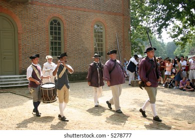 Fife and drum at Colonial WIlliamsburg. Editorial use only.