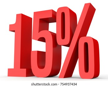 Fifteen percent off. Discount 15 %. 3D illustration on white background.