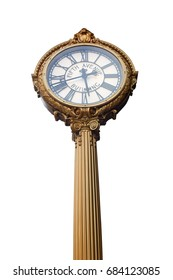 Fifth Avenue building golden clock isolated in New York, clipping path included