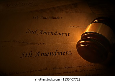 Fifth, Second and First Constitutional Amendments with gavel