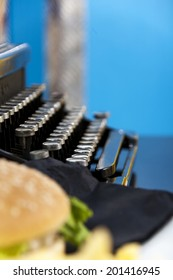 fifties style - hamburger and typewriter in an american bar
