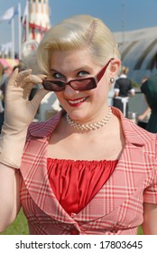 fifties vintage costume at Goodwood Revival event, UK