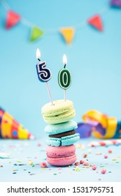 Fiftieth 50th Birthday Card with Candle in Colorful Macaroons and Sprinkles. Card Mockup.