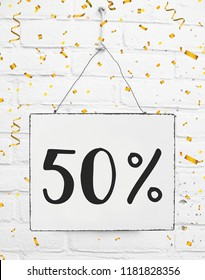 Fifty 50 % percent off black friday sale 50% discount golden party confetti banner billboard