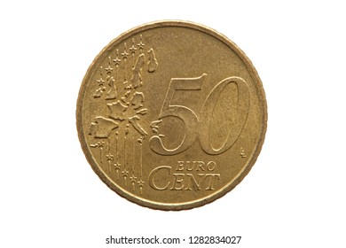 Fifty cent euro coin of Germany dated 2002 cut out and isolated on a white background