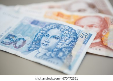 Fifty Croatian national Kuna paper currency.Close up shot of Dalmatia region banknotes. 50 Hrvatska Kuna cash money