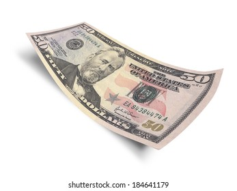 Fifty dollar banknote isolated on white background