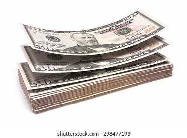 Fifty dollar banknotes closeup (isolated and clipping path)
