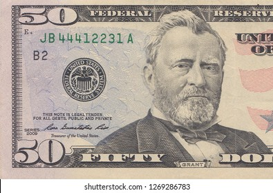 Fifty dollar bill macro, 50 usd, president Ulysses Grant portrait, united states money closeup