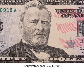 Fifty dollar bill macro, 50 usd, president Ulysses Grant portrait, united states money closeup