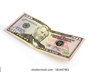 fifty dollar on a white background isolated