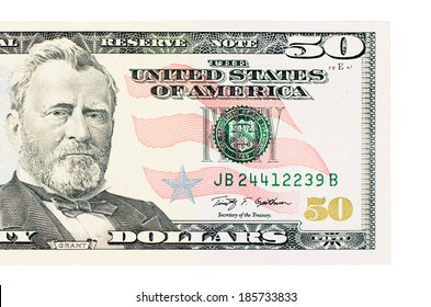 The fifty dollars isolated on white background