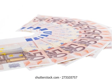 Fifty euro banknote fan isolated on white background