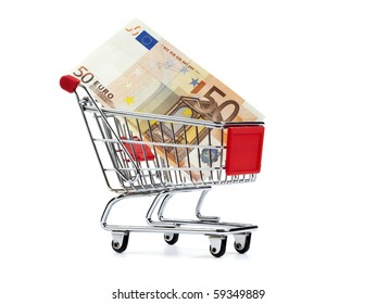 fifty euro bill in shopping cart, isolated on white