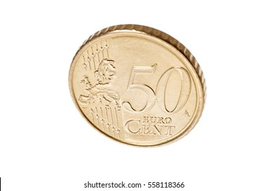 Fifty euro cent coin isolated