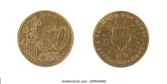 Fifty euro cent on white background, front and back