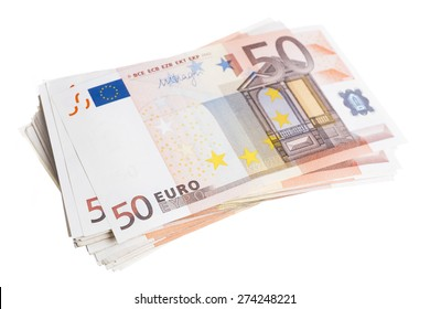 Fifty euro note pile isolated on white background