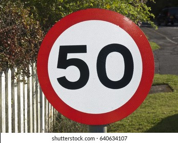 A fifty mile per hour speed limit sign in the UK