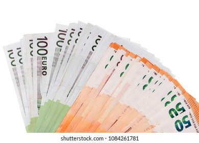 Fifty and One Hundred Euro Bills on a Light Background