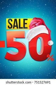 Fifty percent Christmas sale poster