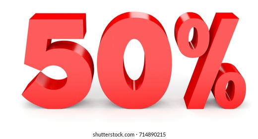 Fifty percent off. Discount 50 . 3D illustration on white background.
