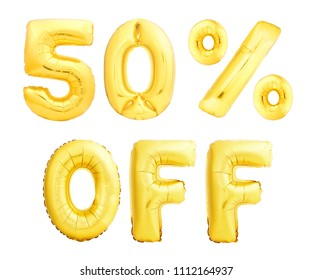 Fifty percent off discount sign made of golden inflatable balloons isolated on white background. 50 OFF sign template