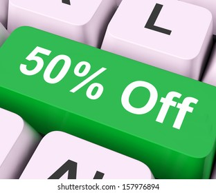 Fifty Percent Off Key On Keyboard Means Discount Or Sale
